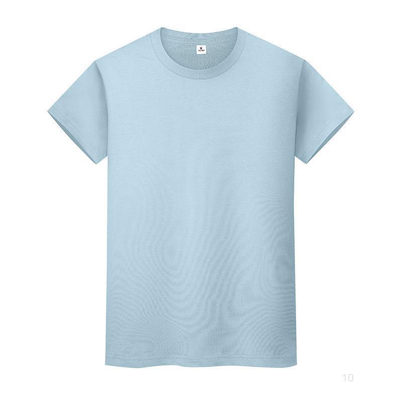 Neue Rundhalsausschnitt Solide Farbe T-shirt Sommer Baumwolle Bottoming Hemd Kurzärmelige Herren und Womens halbärztlich x5cwio