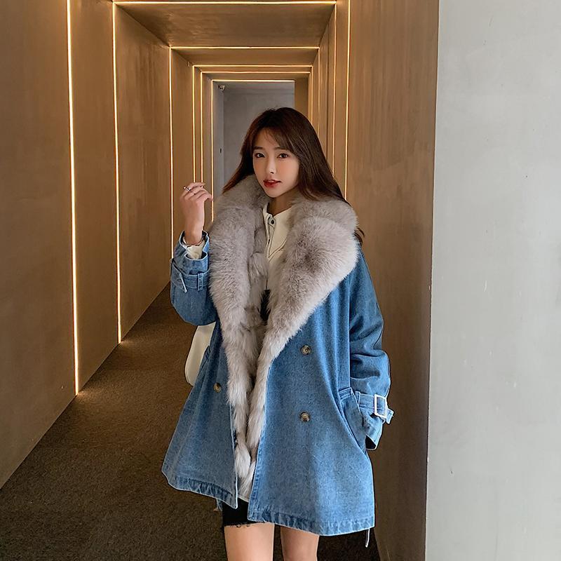 Женская меховая искусственная зима толстая джинсовая куртка теплый 100% натуральный натуральный выстроился Parka настоящие пальто Женщины сверху с поясом