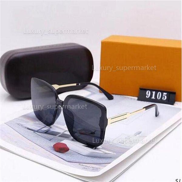 2021 erkek kadın tasarımcılar güneş gözlüğü lüks güneş gözlüğü tasarımcılar cam gözlük 9105 model, 5 renkler isteğe bağlı yüksek kaliteli gözlük AA1