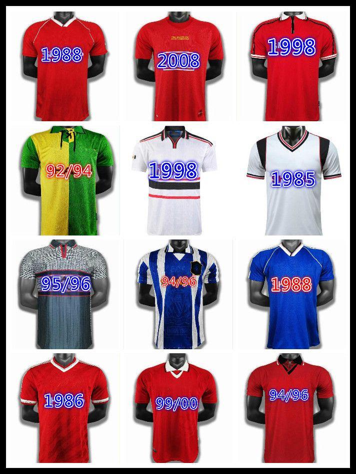Cantona Hughes Giggs Ince Retro Manchester 94 95 96 98 99 00 01 Rot Schwarz Fußball Hemd 94 95 96 Vintage Fussball Jersey Mann