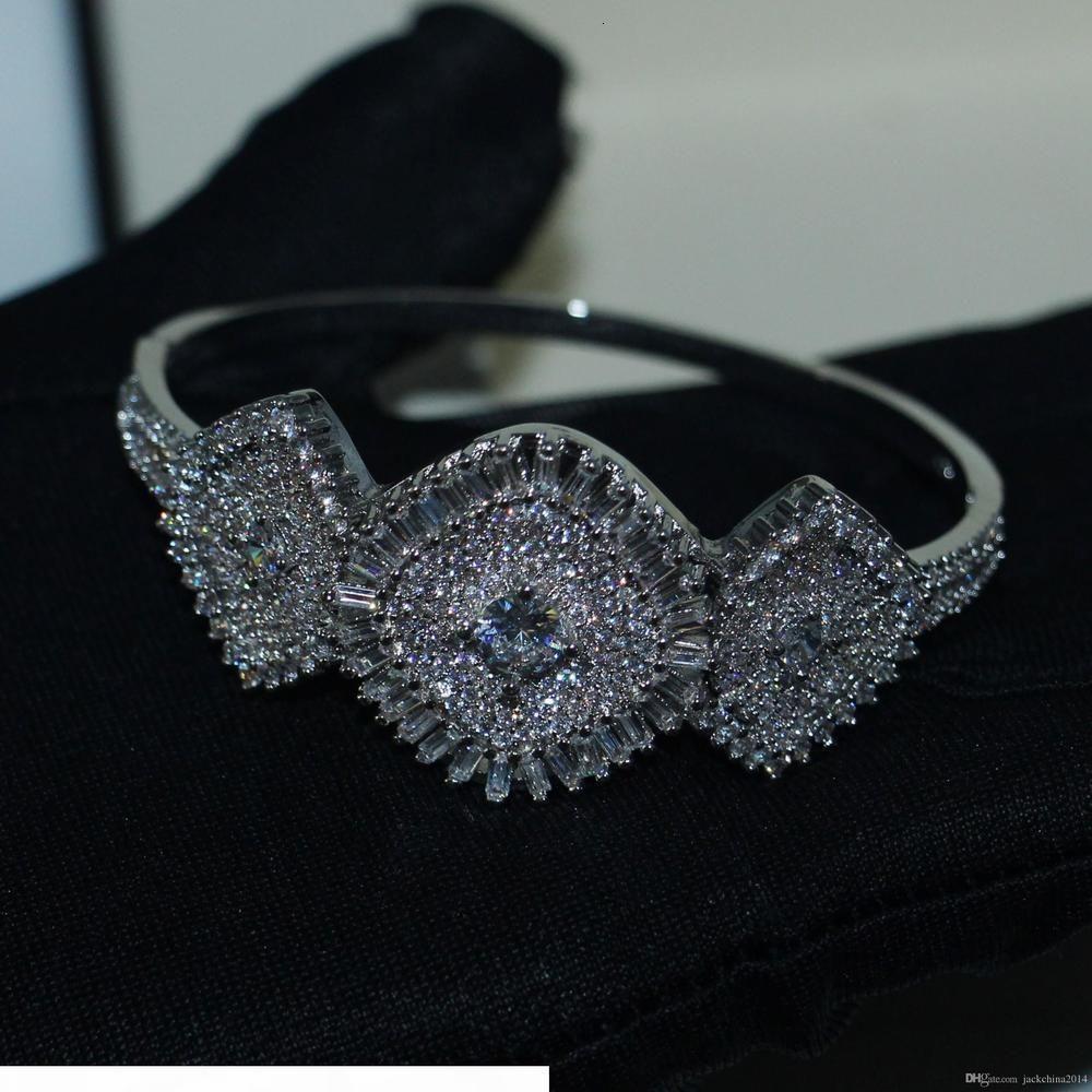 K Victoria Wieck Lüks Takılar 925 Gümüş açacağı Beyaz Şeffaf 5a Taşlı Parti Çiçek Kadınlar Düğün Gelin Bilezik