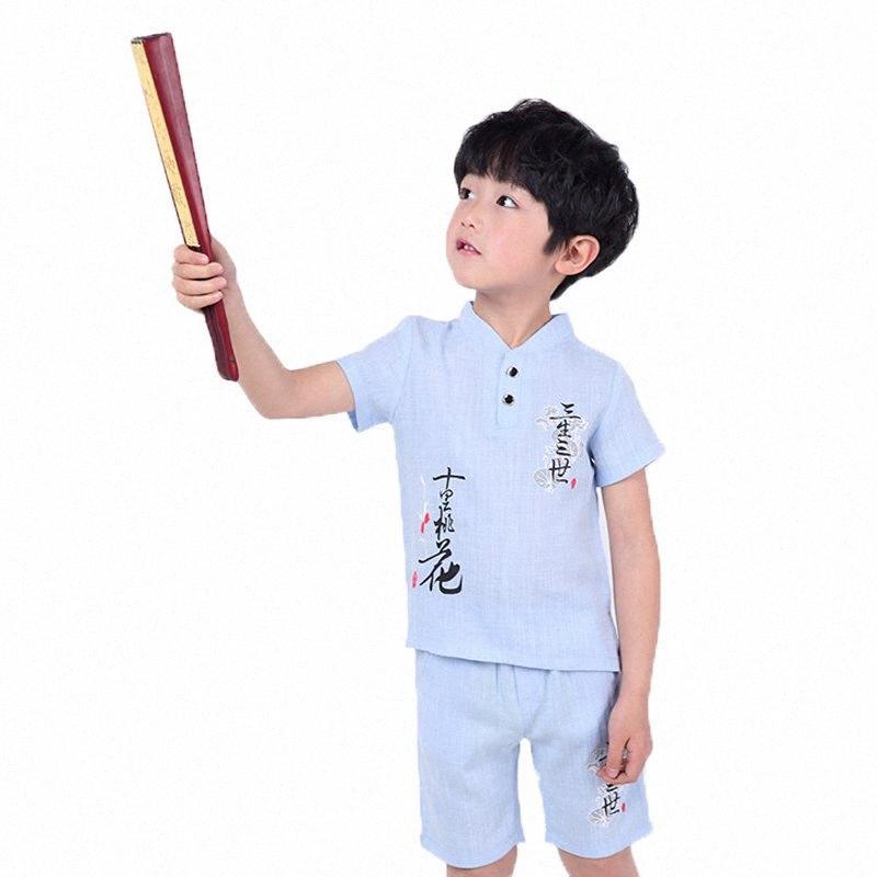 2-10T School Kids Shirt+Shorts 2PCS Sports Clothing Set Gentleman Boys Summer Suit Children Wedding Dress Birthday Party Suit wJxm#