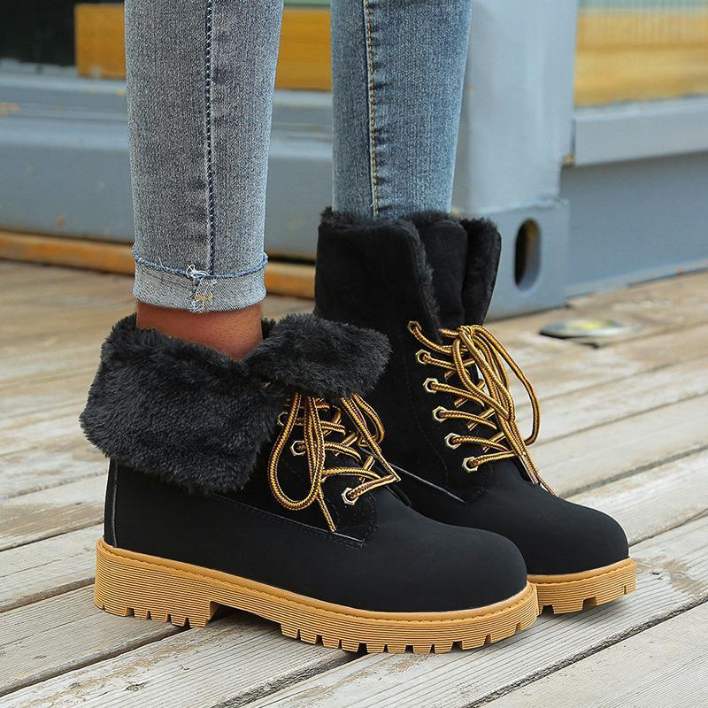 Kış Peluş kar botları çıktı-over Kenar Platformu Kare Topuk Kabarık Kürklü Astar Moda Trend Tasarımcı Ayakkabı Kız Ladies Isınma
