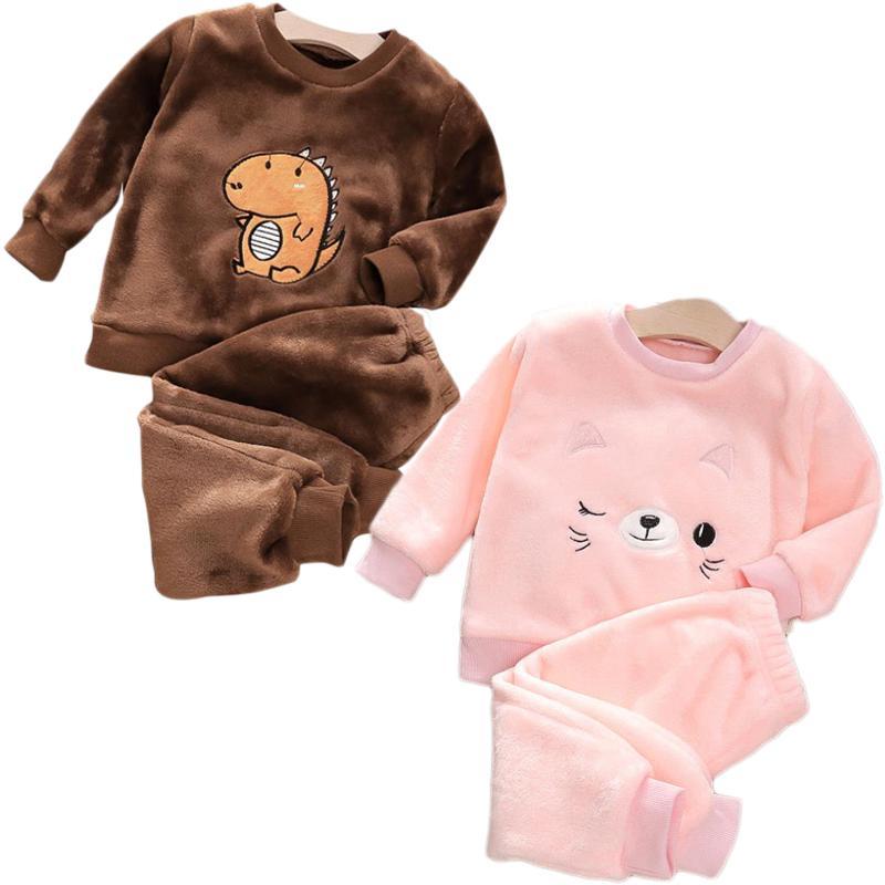 New Boy Girl Otoño Invierno Pijamas Set Flannel Fleece Niño Niño Cálido Catoon Oso Sleepwear Ropa para niños 1-4Y 201104