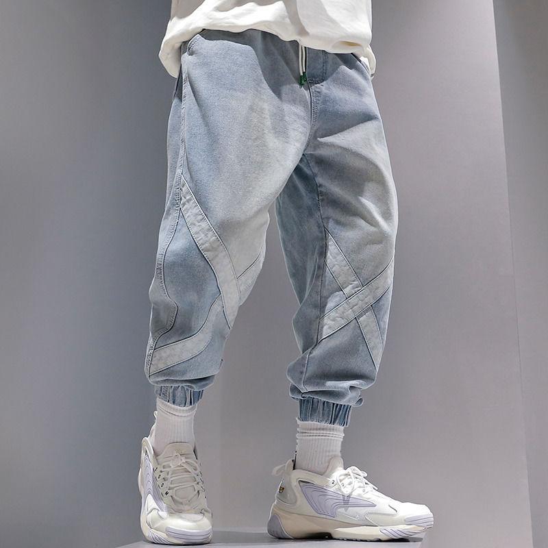 2020 Брюк мужских Уличных джинсы штаны Мужчина корейской мода хип-хоп Голеностопный Пластинчатые Человек Свободного Свободный Joggers Голубой