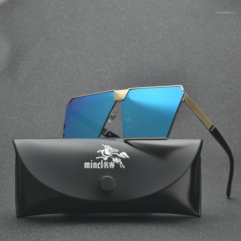 MINCL/ big goggle sunglasses one piece women designer metal frame cool oversized mens sunglasses eyewear mirror lenses FML1