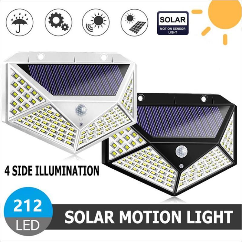 212 Luz solar LED Lámpara solar al aire libre con energía solar impermeable PIP Motion Sensor Sensor Luz de calle para la decoración del jardín
