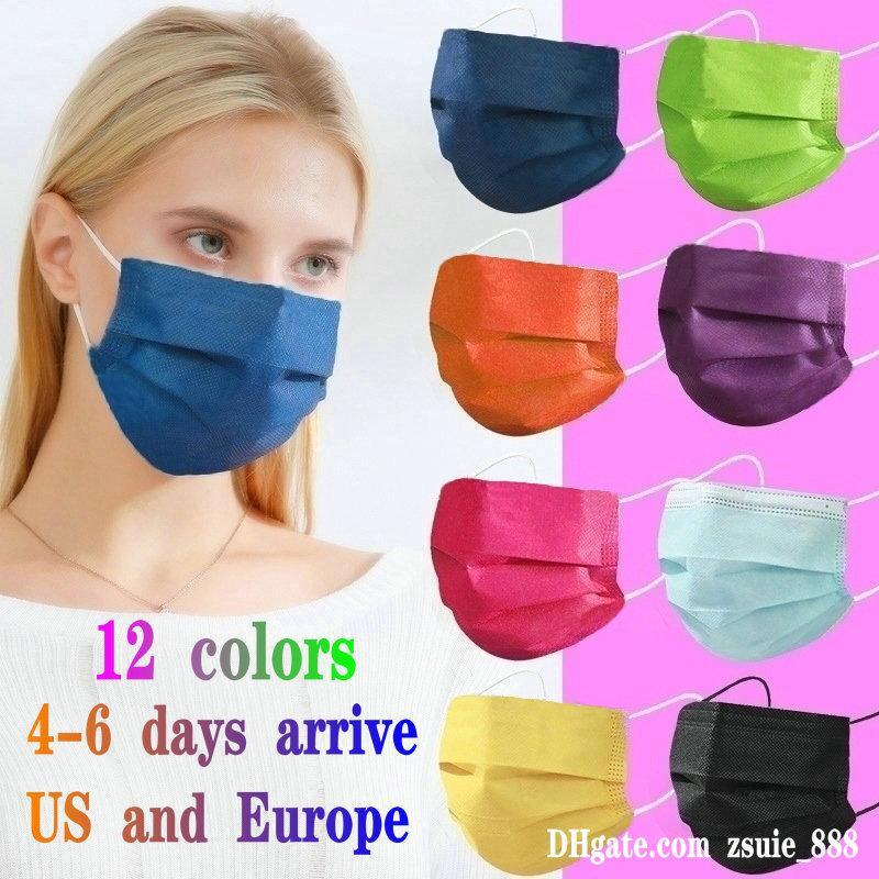 12 cores máscara adulta 50 pcs pacote de varejo garoto desenhos animados designer de moda face máscara crianças 3 camadas descartáveis não-tecidos anti-poeira mascarilha