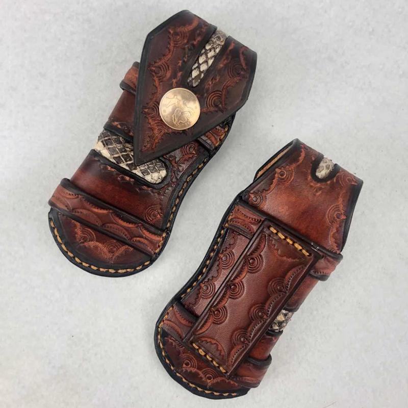 Fourreau couteau pliant de chasse en plein air sac cuir pinces de pliage sac tactique militaire Fourreau EDC petit sac