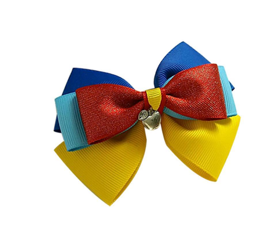 cheveux princesse Livraison gratuite arcs clips cheveux inspirés rouge bleu jaune avec des arcs de la couronne de pomme