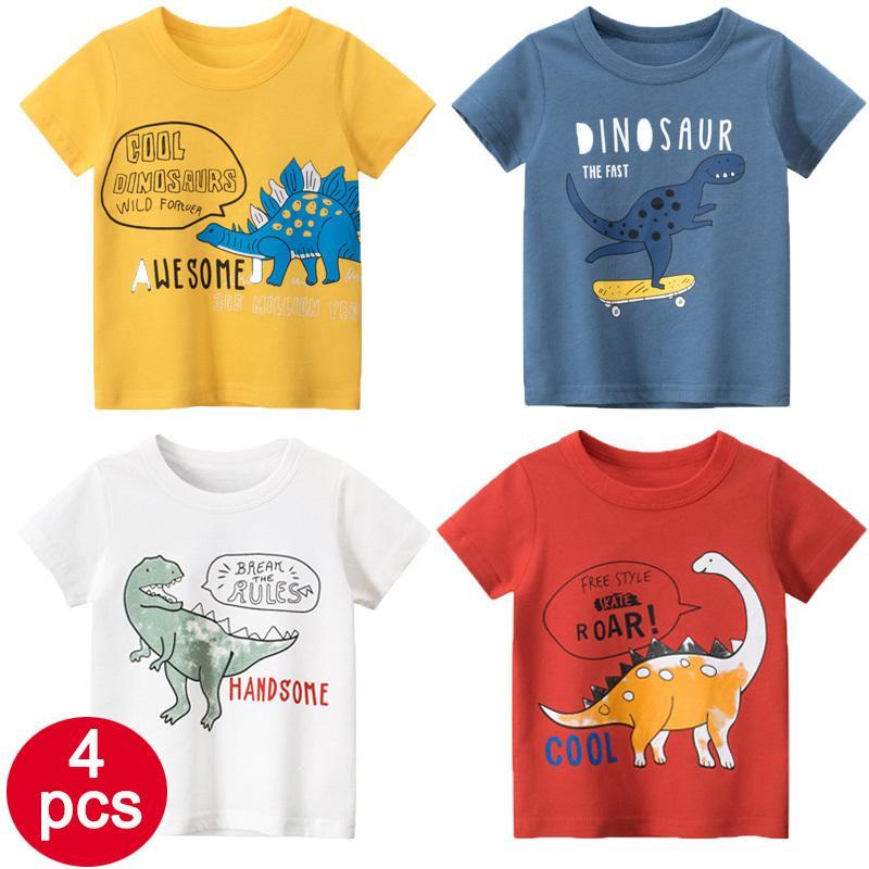 27kids Promosyon 4adet Yaz Çocuk tişört Sevimli Dinozor Hayvan Pamuk Kumaş 2-9 yaşında çocuklar Giyim 1006 için serbestçe nefes