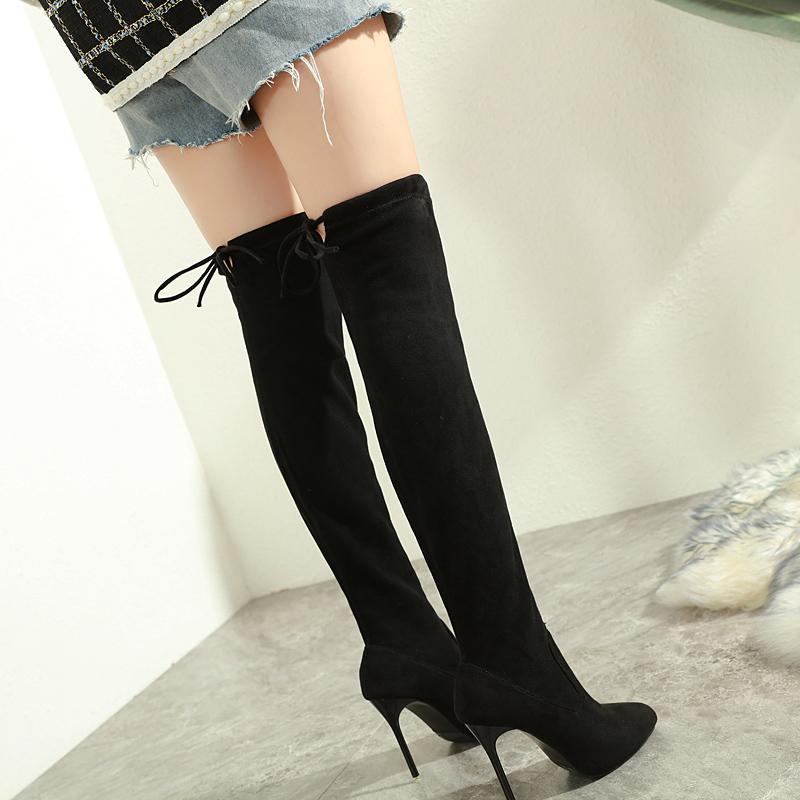 حار بيع موجزة من جلد الغزال الاصطناعية سوداء فوق الركبة الفخذ أحذية عالية عالية الكعب للأزياء أحذية حجم 35-40