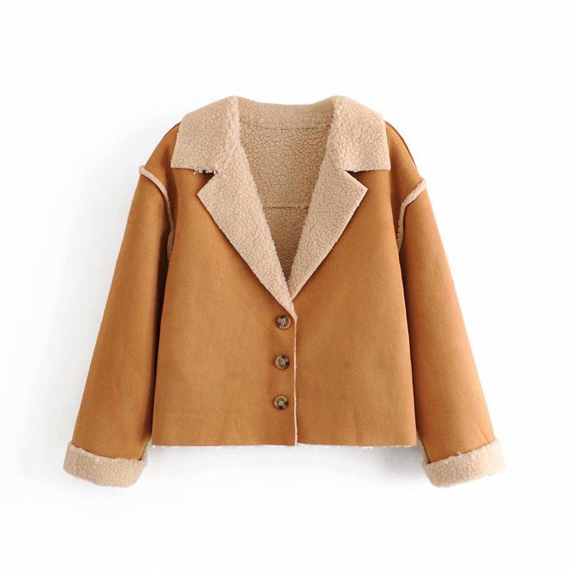 여성용 재킷 2021 가을 여성 자켓 솔리드 버튼 턴 다운 칼라 긴 소매 짧은 코트 패션 겉옷 탑스 옷