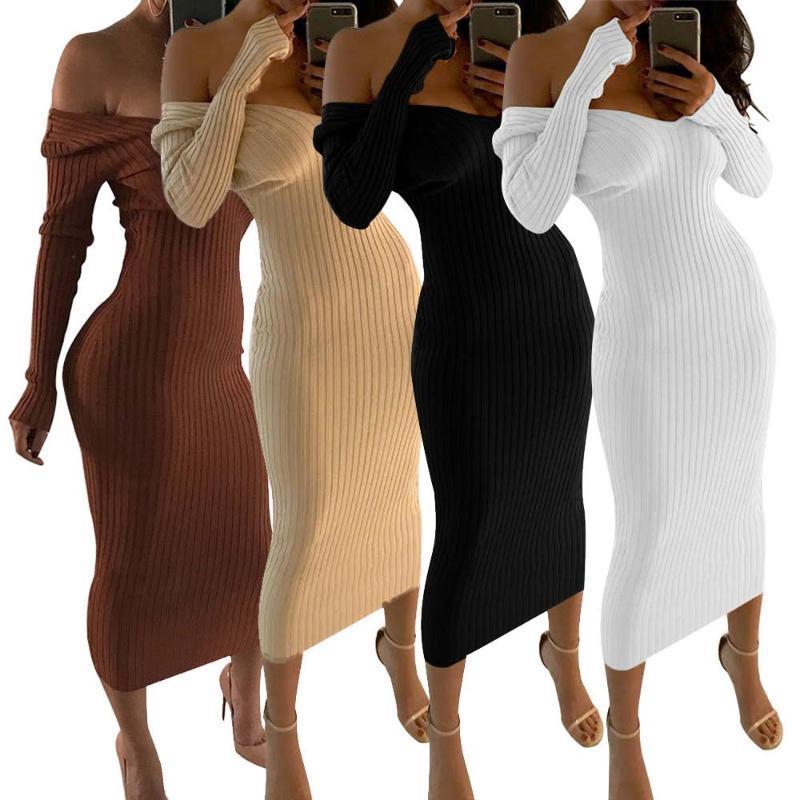 الفساتين الخريف محبوك سترة الهيئة غير الرسمية بسط فام رداء طويل الأكمام الكتف معطلة مثير أسود أبيض ميدي اللباس Vestidos