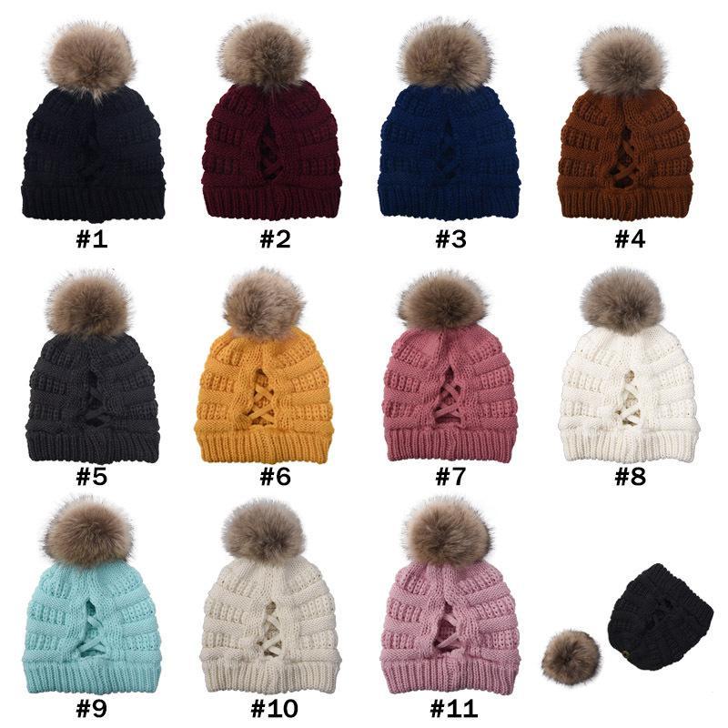 Cross Pom Pom Beanies Skull Ponytail Beanies 11 Colors Winter Warm Knitted Hat Women Ski Cap CYZ2843