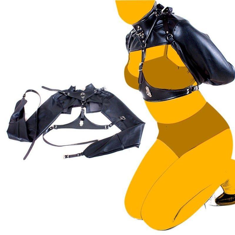 BDSM Boodage PU кожаный жгут грудной клетки ремень прямой куртка эротические фетиш секс игрушки