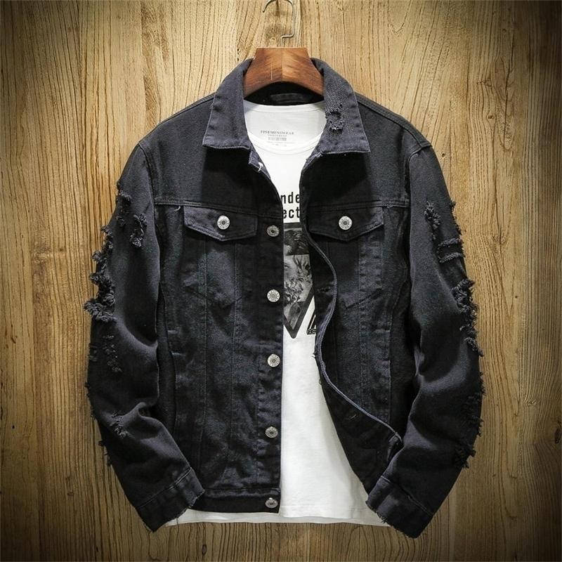 Осенняя пружина плюс размер XS-3XL джинсовая джинсовая куртка мужская стойка воротник повседневная модная одежда 201130