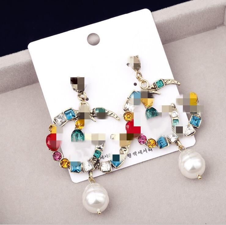 2020 bijoux Boucles d'oreilles Boucles d'oreilles perle grand long bijoux boucles d'oreilles pour les femmes Rouge Vert Blanc Jaune coloré boucle d'oreille de perles