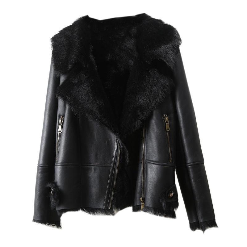 Vêtements d'extérieur Femme Femme Fourrure Parka Chaud Veste Locomotive Locomotive Lambage d'hiver Neige 2020 Casual Fashion Nouveau manteau de laine réelle UWNHV