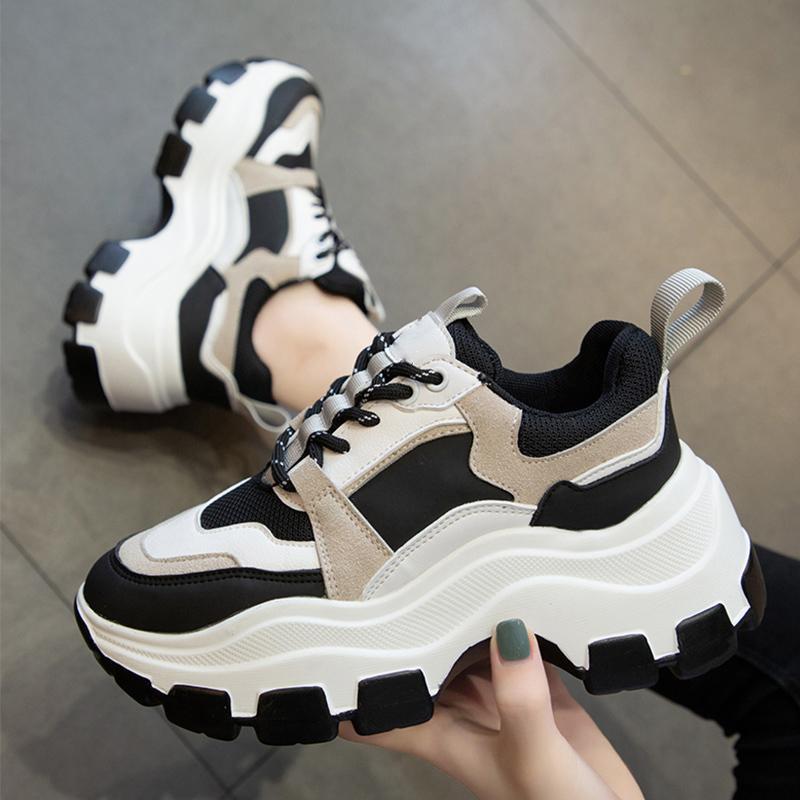 das mulheres Chunky Sneakers Grosso inferior Platform Vulcanize sapatos da moda respirável duração Casual sapatos para mulher Feminino 2020 1020
