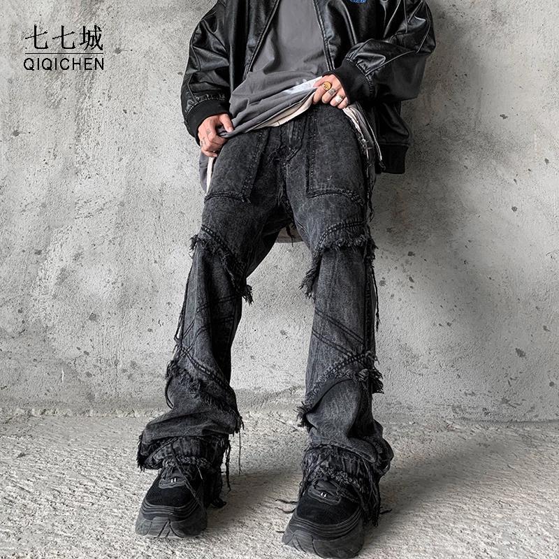 Hip Hop Flare Jeans Pant Homens Vintage Burrs Largo Perna Denim Streetwear Harajuku Preto Goth Calça Jeans de Alta Qualidade Calças Masculino