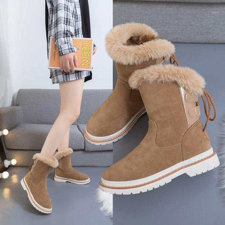 Winter New Cotton Shoes Casual Fashion Short Tube Low Heel Ladies Boots Solid Color Round Head Snow Boots Women's1