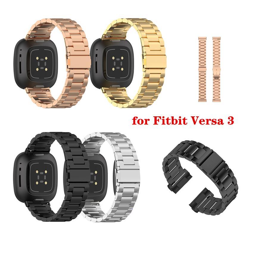 Stainless Steel Strap Folding Clasp For Fitbit Versa 3 Smart Watch Band Metal Wrist Bracelet Correa For Fitbit Sense Versa3 Accessory Straps