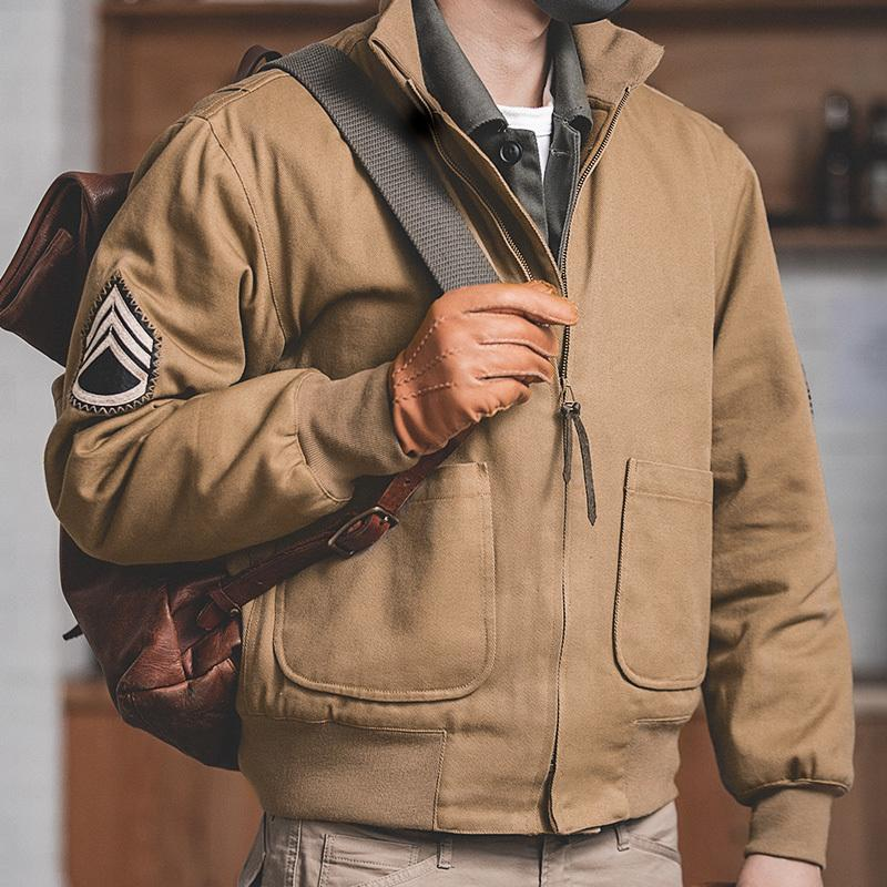 Maden Mens Brown Military Flight Bomber Jackets Vintage Pilot Aviator Monocycle Jacket Slim Fit with Patches Stand Collar