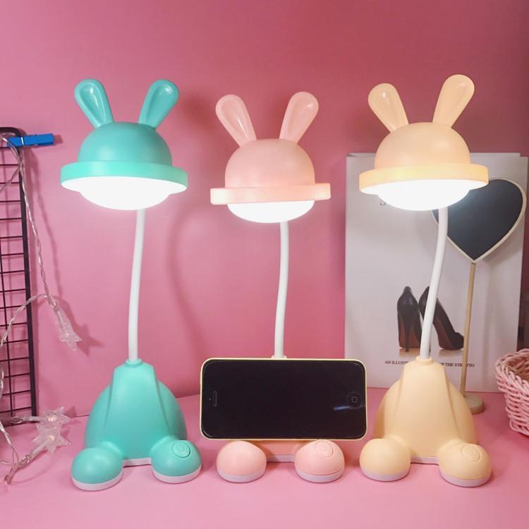 Niedlicher Kaninchen Schreibtisch Leselicht Faltbare drehbare LED Tischlampe USB Ladeschalterlampe Neuheit Lesetisch Licht Flexo Lampen