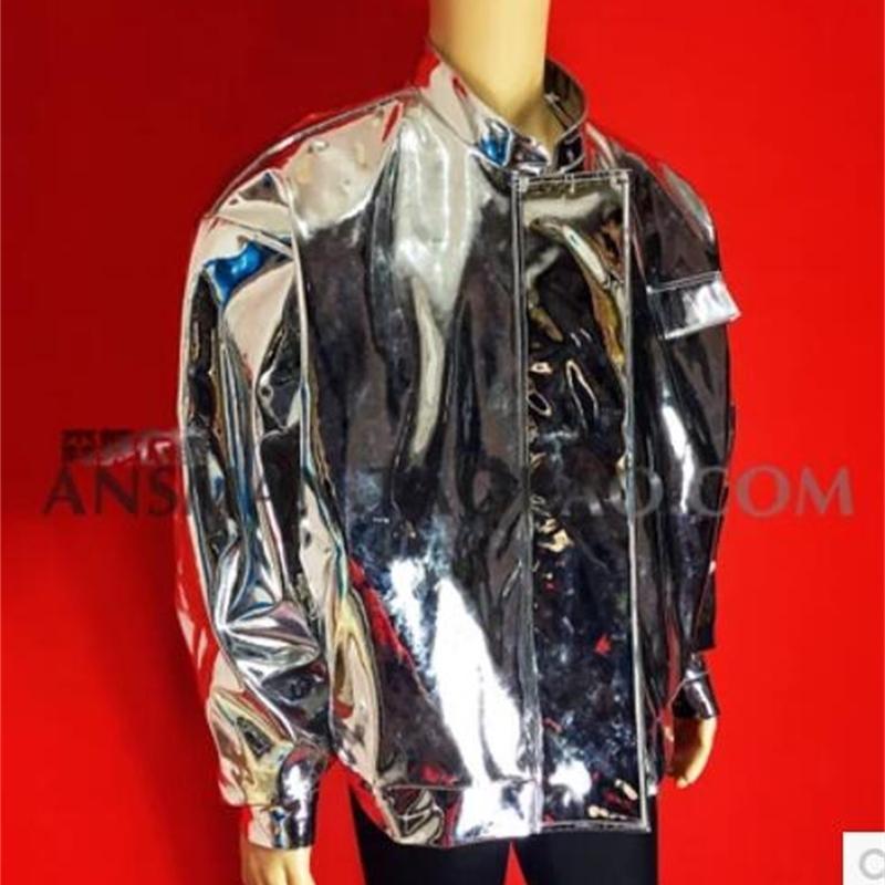 roupas cantora Hip-hop céu espelho jaqueta de couro de prata de HOT New Men Nightclub outerwear figurinos Moda 201026