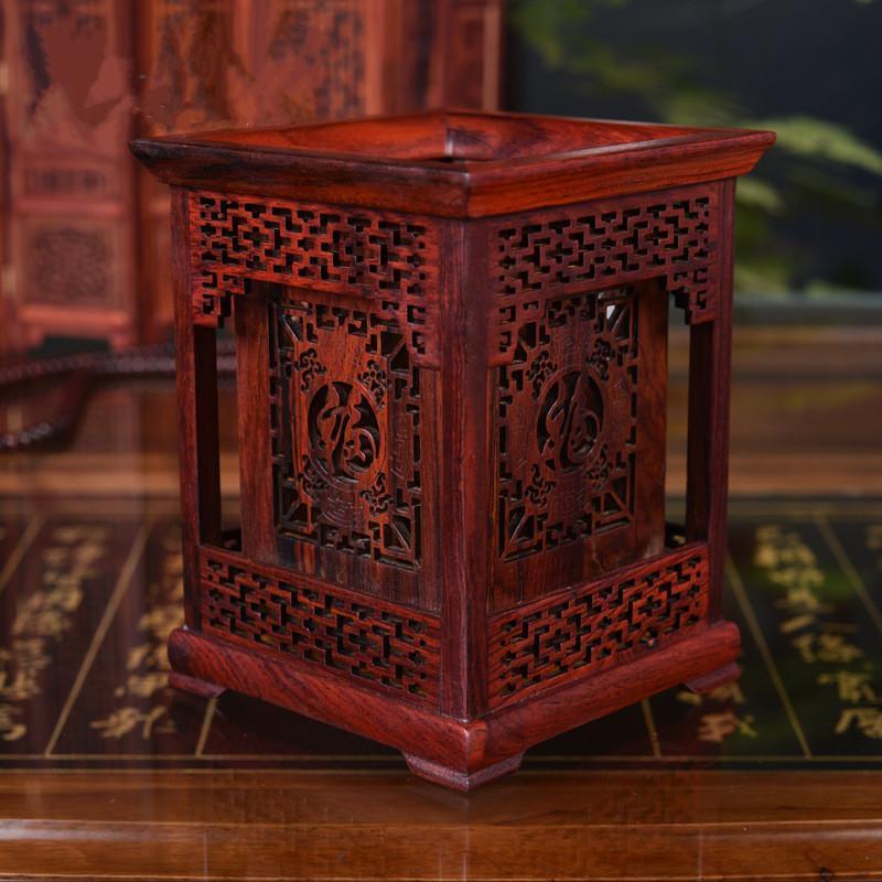 Klassische Art High Grade Mkuruti Stifthalter vorzügliche rote Holzschnitzerei Handwerk Haushalt Geschenke Archaistic Studie Bleistift Vase