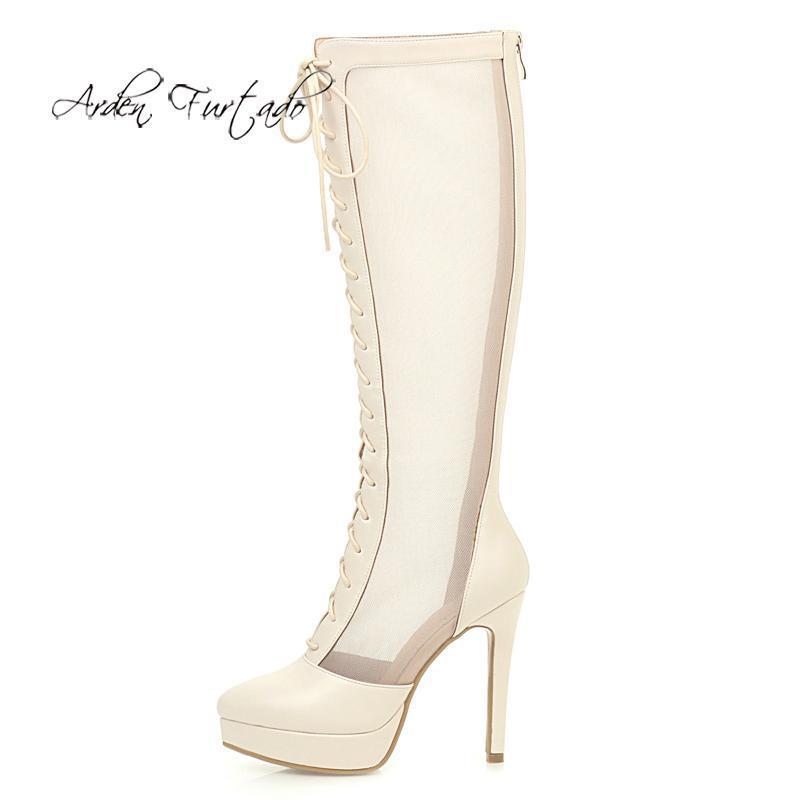 Arden Furtado 2020 Shoes Mulheres Moda do Verão Sapato de bico fino Salto estiletes Zipper Sexy plataforma das senhoras elegantes de malha Botas 43