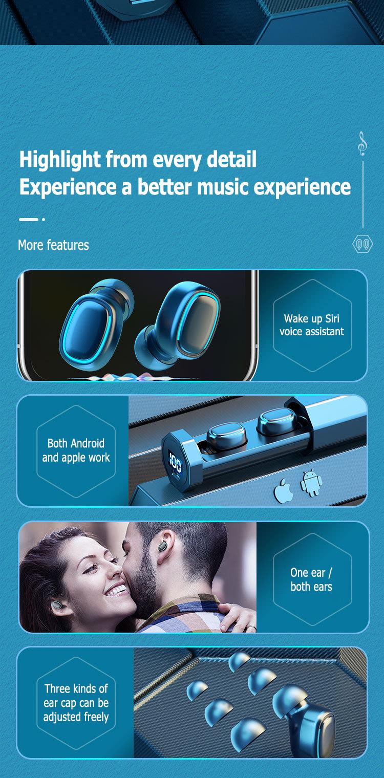 جديد B9 TWS سماعات بلوتوث 5.0 ستيريو مركبتي الصوت الموسيقى اللاسلكية سماعة سماعة الرياضة سماعة الأذن الصمام اللمس التحكم للهاتف