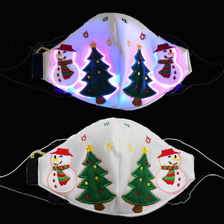 masque de visage masque masque adulte noël LED de purge masques arbre bonhomme de neige arbre bonhomme de neige a conduit coloré bouche faciale pour garçons filles livraison gratuite
