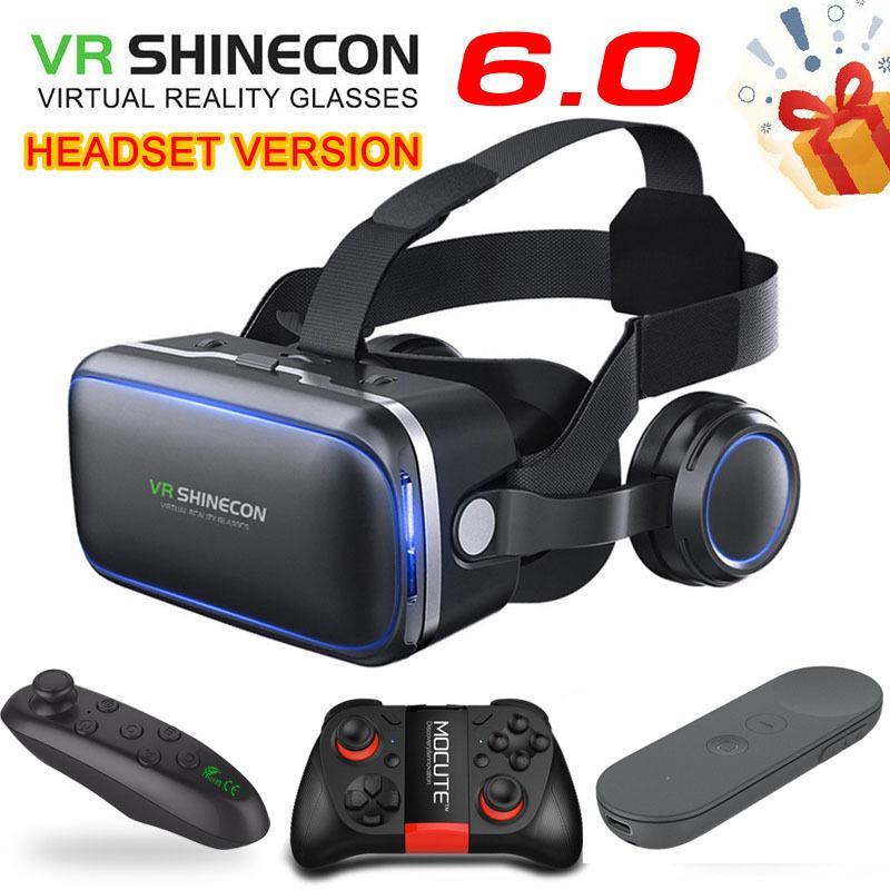Orijinal VR Shinecon 6.0 Standart Sürüm ve Kulaklık Sürüm Sanal Gerçeklik VR Gözlük Kulaklık Kaskları İsteğe Bağlı Kontrol Cihazı LJ200919