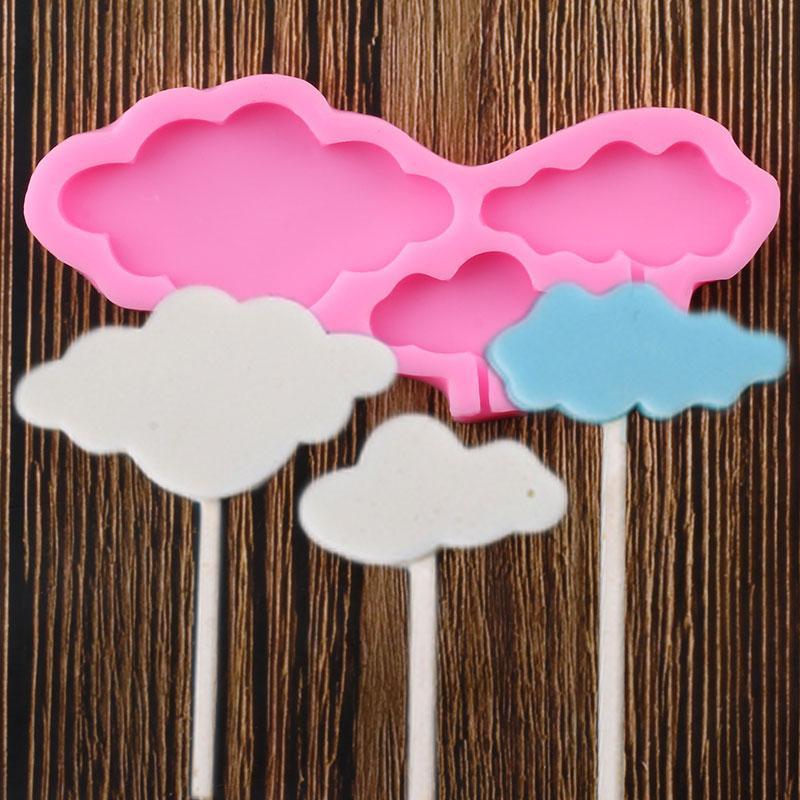 Bulut Şekli Lolipop Silikon Kalıp Bebek Doğum Günü Kek Topper Fondan Kek Dekorasyon Araçları Chocolat Şeker Polimer Kil Kalıpları