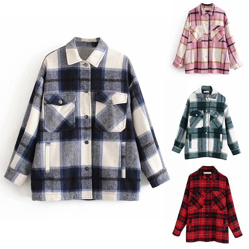 Pockets Plaid overshirt mistura de lã Jacket check lapela gola do casaco manga comprida Mulheres extragrandes com retalhos Jaquetas Botão Tops 201012