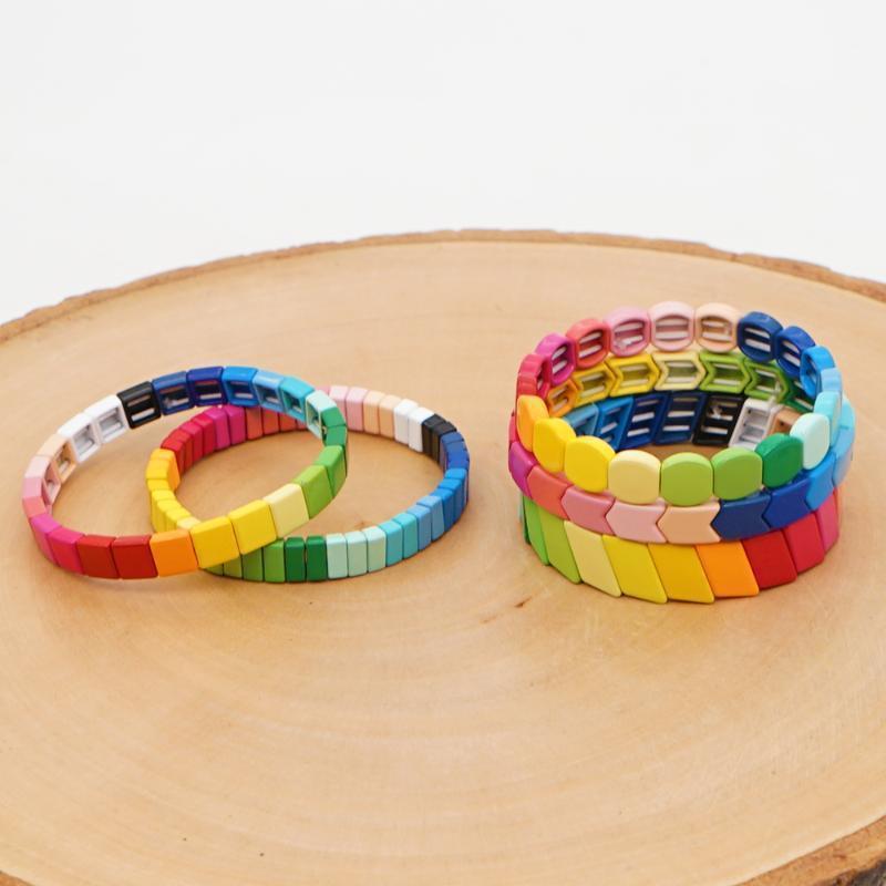 Braccialetto in smalto Shinus Bracciale perline Rainbow Bracciali Bracciali Branelli Multicolore Gioielli Boho Estate Beach Accessori Handmade Jewellery1