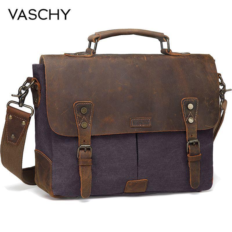 VASCHY Messenger Genuine Leather Canvas 14inch Laptop Briefcase Crossbody Satchel Bag for Men Q0112