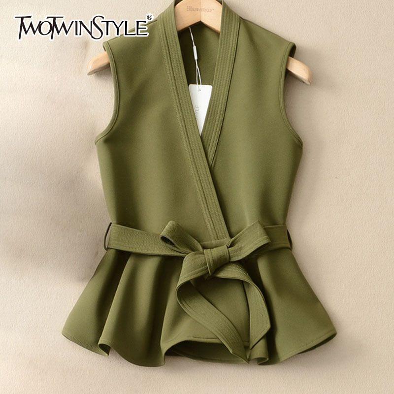GALCAUR Lace Up Weste für Frauen Ärmel mit V-Ausschnitt mit hohen Taille Bow drapierte Weste 2020 Frühlings-Sommer-Art und Weise Neue Kleidung