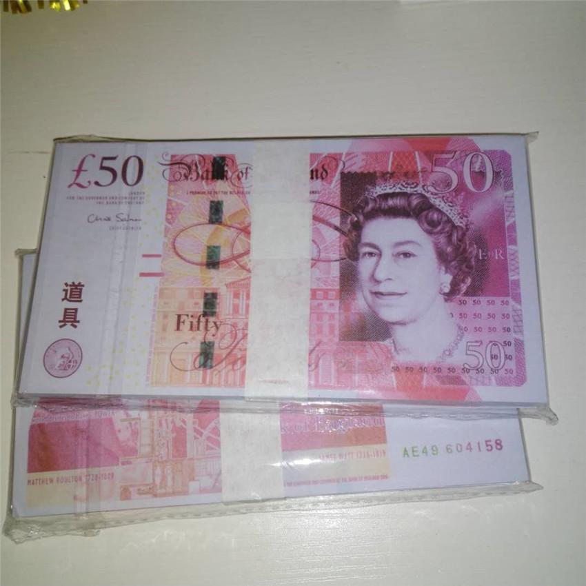 Barra de calidad británica Bar Money Props para niños LPTWE Bills 50 Juguetes de automóvil Play Play Props Billetes de banco Toys Monedas Mejores FPKPU