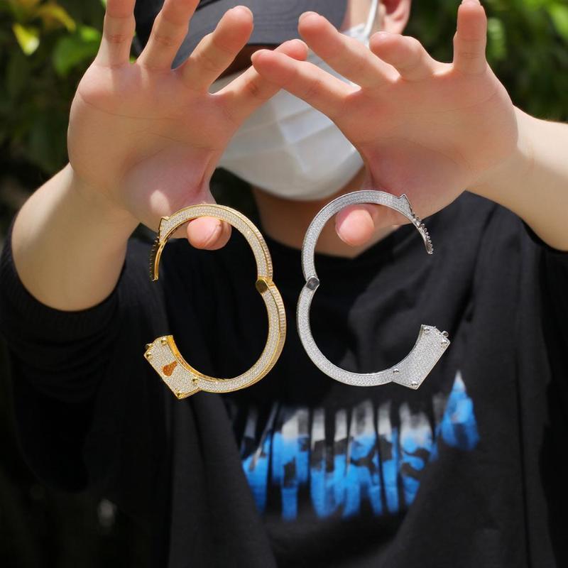 Hip Hop Punk esposas brazalete de cobre con incrustaciones de circón cúbico Pareja retro joyería del brazalete