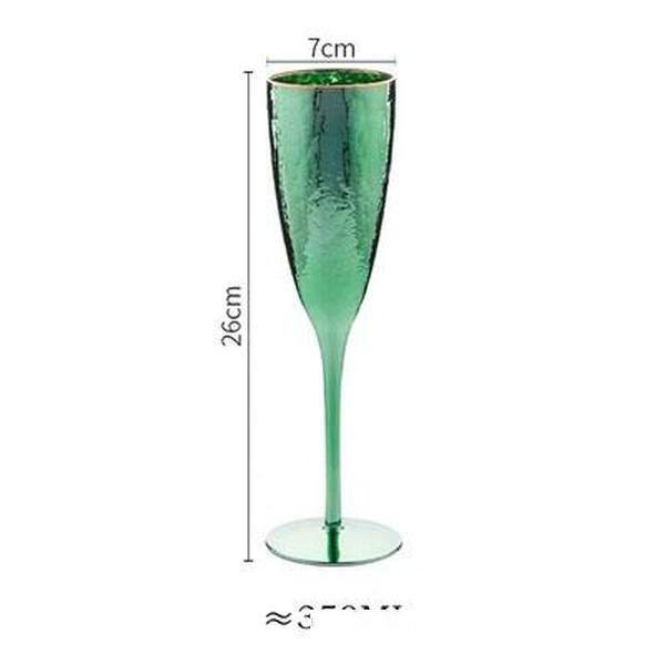 Vintage Emerald Green Wine Glasses Gold Rimmed Hammer Texture Glass Goblet for Red Wine Champagne Home Hotel Restaurant Barware