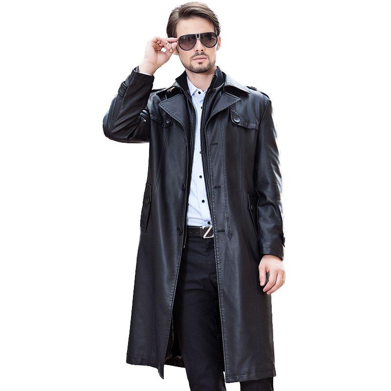 Livraison gratuite Hiver NOUVEAU Style Hommes Cuir Veste Collier Collier Plus longue section Double Collier Double détachable Plus Coeleuse à fourrure Velvet épais