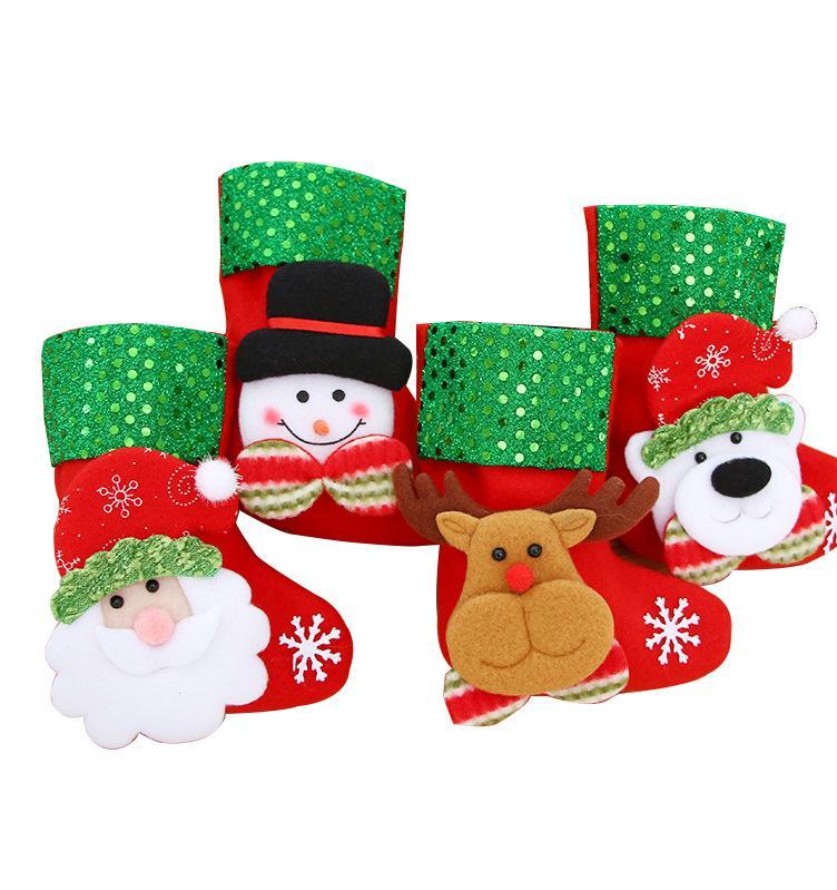 Christmas Hanging Socks Cute Candy Gift Bag Snowman Santa Claus Deer Bear Christmas Stocking For Christmas Tree Decor Pendant HOT EEA2143
