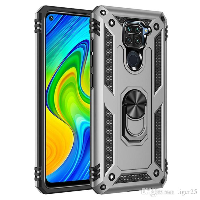 Caixa de telefone à prova de choque da armadura para Xiaomi Redmi Nota 9 9s Pro Max Anti-Fall Finger Ring Tither Magnético Shell Kickstand Case Capa