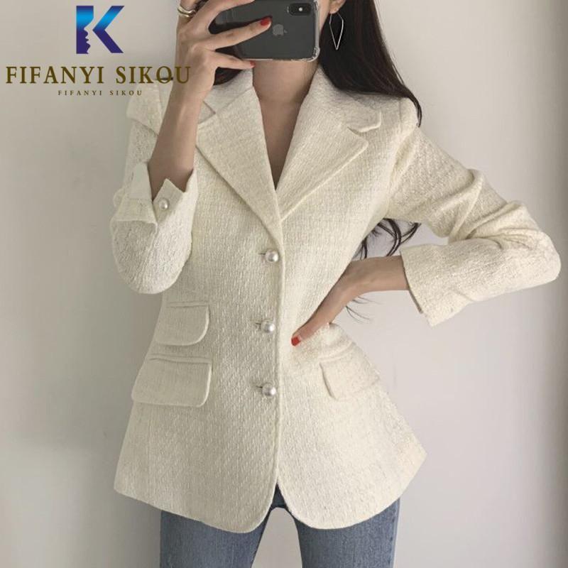 Vintage Plaid Women Blazer Jacket Fashion Pearl Buttons Tortched Collar Chic Vestito Giacca Elegante Slim Lady Blazer Cappotto 2021 Nuovo