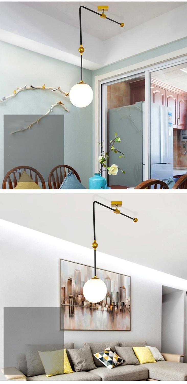 Pendelleuchten geometrische einfache Glaskugel Nordic Bedroom-Studie mediterran