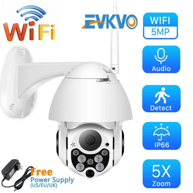 EVKVO 5MP 5fach-Zoom Drahtlose PTZ Speed Dome IP-Kamera WiFi Außen FHD P2P Zweiwegaudio CCTV Sicherheit Video-Überwachungskamera