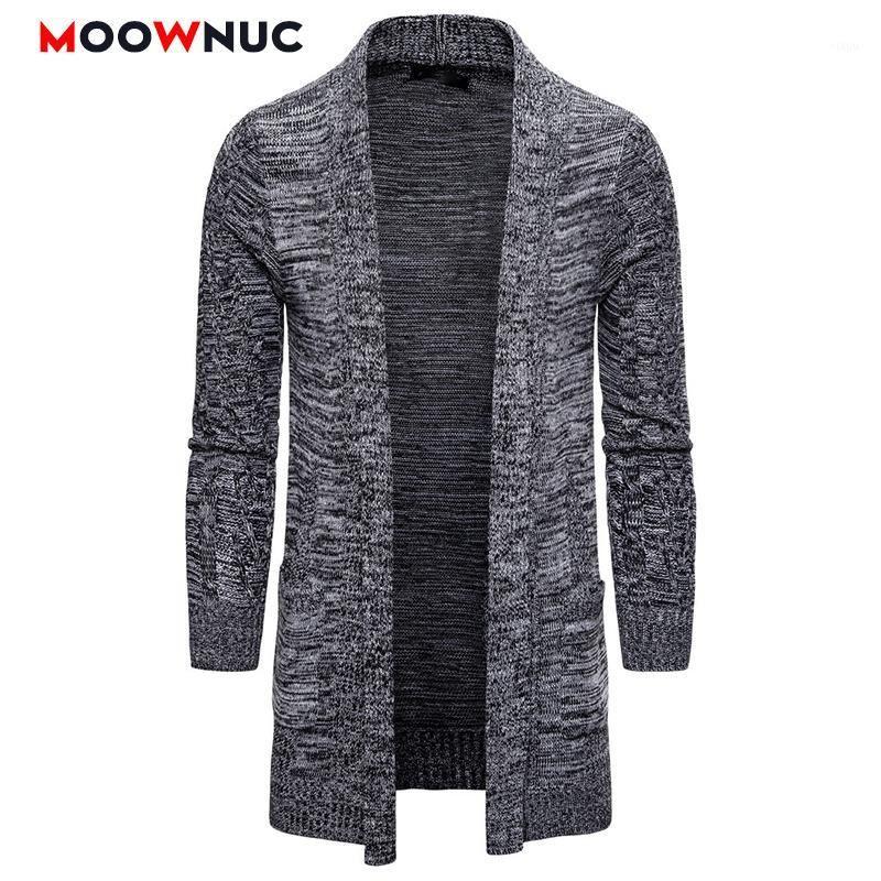 Cardigan homens moda 2020 novos suéteres longos inverno macho sólido quente mola marca moonduc homme suéteres casuais moda windproof new1